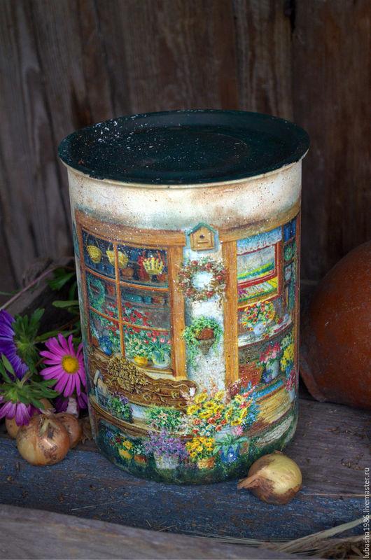 """Кухня ручной работы. Ярмарка Мастеров - ручная работа. Купить Большая банка для муки с крышкой """"Дивный сад"""" в стиле Кантри. Handmade."""