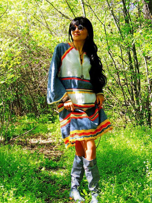 Платья ручной работы. Ярмарка Мастеров - ручная работа. Купить Летнее платье-туника из льна и хлопковой пряжи (№130). Handmade.