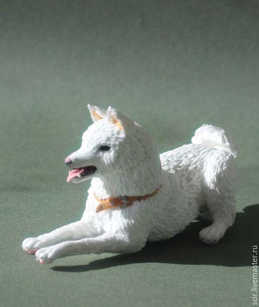 """Статуэтки ручной работы. Ярмарка Мастеров - ручная работа. Купить фигурка """"собака породы Акита-ину"""" (статуэтка белой собаки). Handmade."""