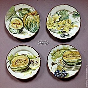Посуда handmade. Livemaster - original item Painted porcelain Collection of plates on the wall of the Pumpkin. Handmade.