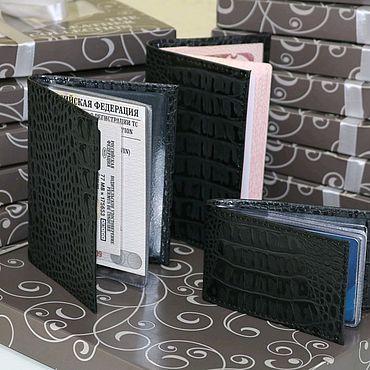 Аксессуары ручной работы. Ярмарка Мастеров - ручная работа Подарочный набор из кожи Черный кайман. Handmade.