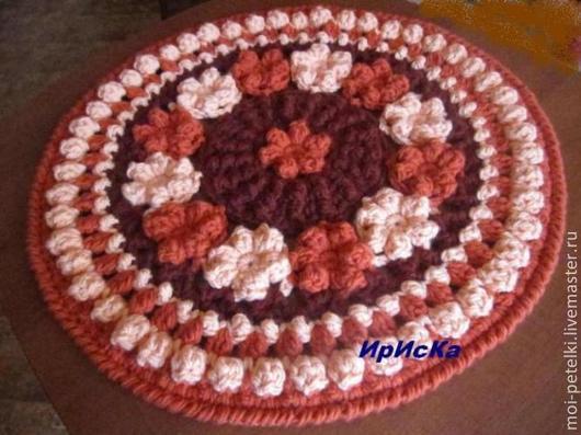 """Текстиль, ковры ручной работы. Ярмарка Мастеров - ручная работа. Купить Вязаный коврик """"Цветочная полянка"""". Handmade."""