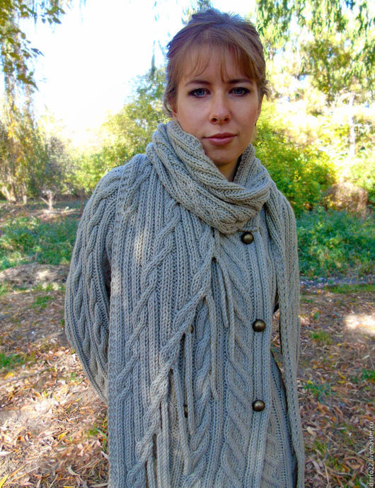"""Пиджаки, жакеты ручной работы. Ярмарка Мастеров - ручная работа. Купить Двубортный кардиган и длинный шарф с бахромой """"Оливковая роща"""". Handmade."""