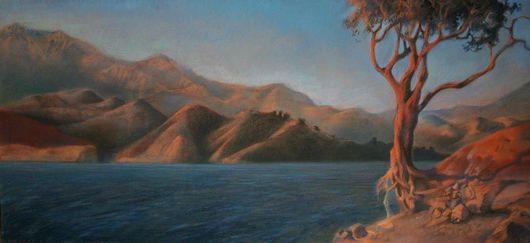 """Пейзаж ручной работы. Ярмарка Мастеров - ручная работа. Купить Постер с картины """"Озеро Качума"""". Handmade. Пейзаж, дерево, коричневый"""