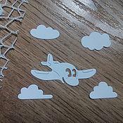 Материалы для творчества handmade. Livemaster - original item !Cutting for scrapbooking-PLANE in the CLOUDS, diz card. Handmade.