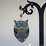 Украшения handmade. Livemaster - original item Transparent Earrings Owl Stained Stained Glass Geometry. Handmade.