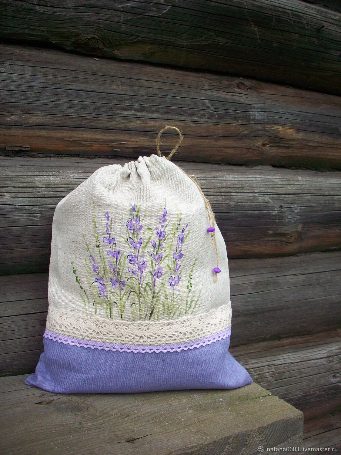 Linen bag for bread with Lavender painting, Bags, Shuya, Фото №1