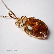 Украшения handmade. Livemaster - original item Pendant dark amber gold frame buy. Handmade.