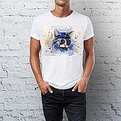 Одежда handmade. Livemaster - original item T-shirt men Cat funny gift man boyfriend. Handmade.