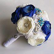 Свадебный салон handmade. Livemaster - original item Wedding Brooch bouquet ivory and Blue. Blue bouquet bride. Handmade.