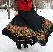 Одежда ручной работы. Ярмарка Мастеров - ручная работа Роскошная черная юбка с ярким подолом. Handmade.