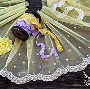 Материалы для творчества ручной работы. Ярмарка Мастеров - ручная работа Кружевной набор 387 вышивка на сетке, шебби ленты, набор с кружевом. Handmade.