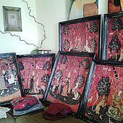 Комплект картин в черных багетах_Дама с единорогом (6 шт) PF0270