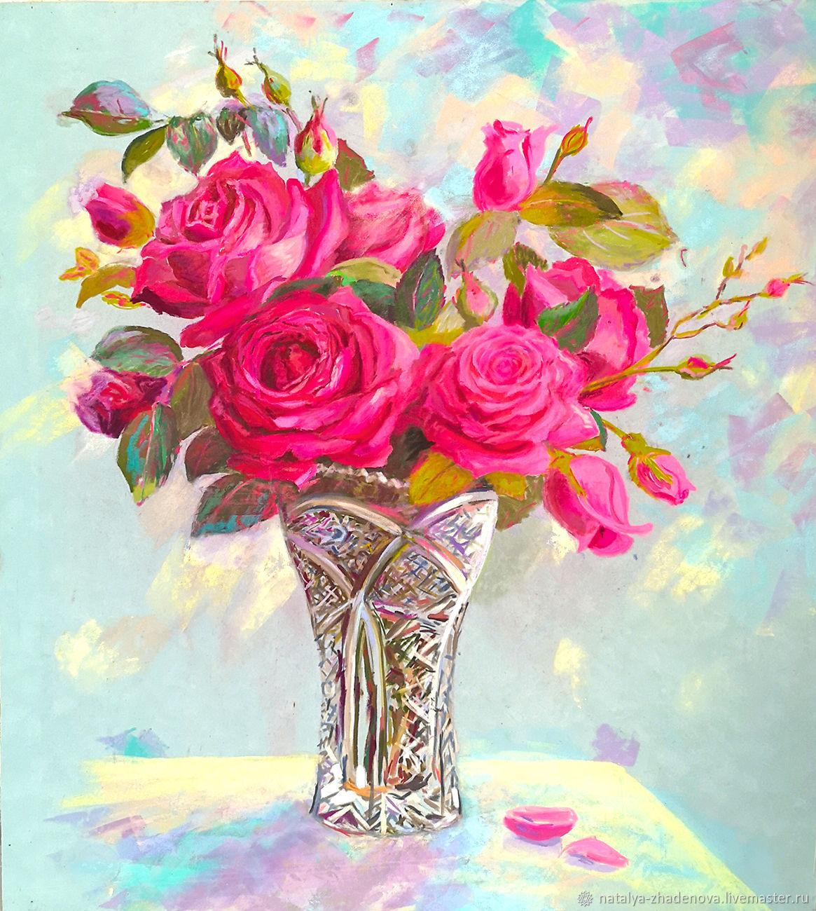Розовые розы натюрморт, Картины, Москва,  Фото №1