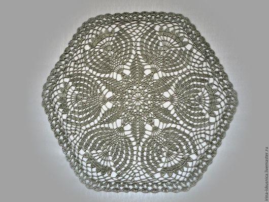 """Текстиль, ковры ручной работы. Ярмарка Мастеров - ручная работа. Купить Салфетка """"Счастье"""". Handmade. Серый, салфетка крючком, шестиугольник"""