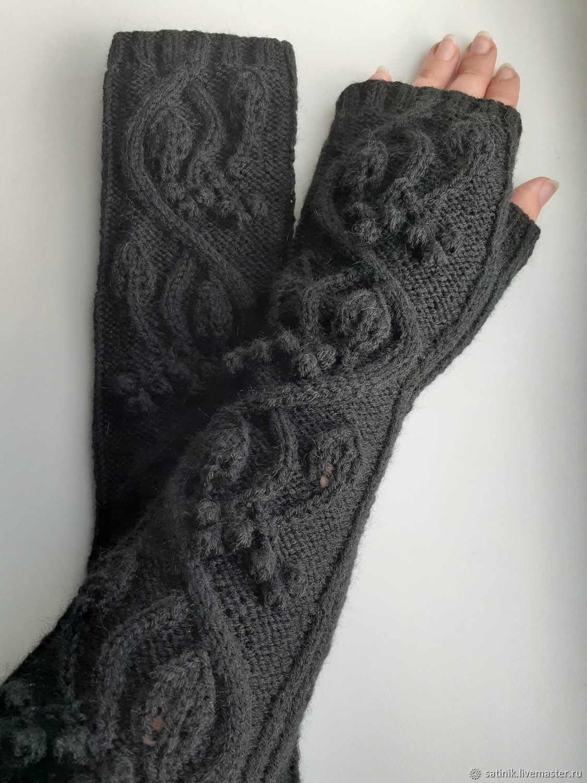 Fingerless gloves long knitted vine, black W1, Mitts, Kamyshin,  Фото №1
