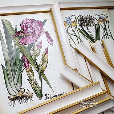 Diseño y publicidad manualidades. Livemaster - hecho a mano Painting ceramic Painting tile-Irises. Handmade.
