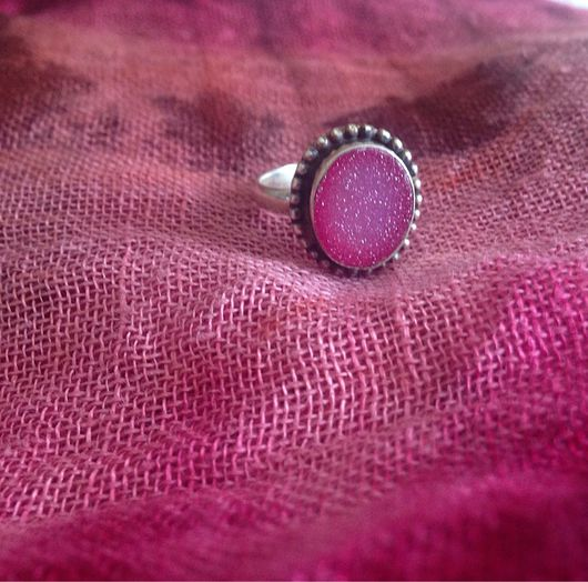 Кольца ручной работы. Ярмарка Мастеров - ручная работа. Купить Кольцо с розовой друзой. Handmade. Кольцо, розовая друза