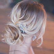 Свадебный салон ручной работы. Ярмарка Мастеров - ручная работа Свадебный комплект украшений для невесты - серьги и шпильки SERENITY. Handmade.