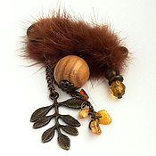 Украшения handmade. Livemaster - original item Boho brooch with wooden bead fur and amber !Pre-winter!. Handmade.