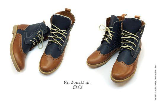 Обувь ручной работы. Ярмарка Мастеров - ручная работа. Купить Ботинки. Handmade. Коричневый, демисезонная обувь, зима