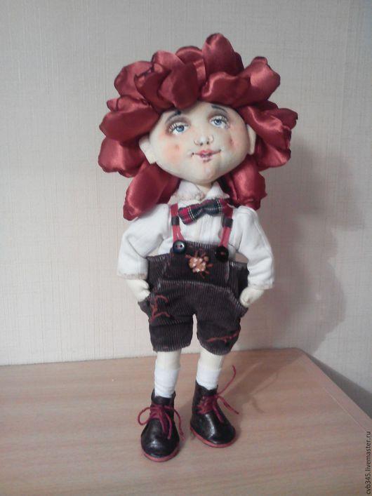 Коллекционные куклы ручной работы. Ярмарка Мастеров - ручная работа. Купить кукла мальчик-Пиончик. Handmade. Бордовый, интерьерное украшение