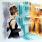 Картины и панно handmade. Livemaster - original item Watercolor painting Breakfast at Tiffany`s (turquoise orange city). Handmade.