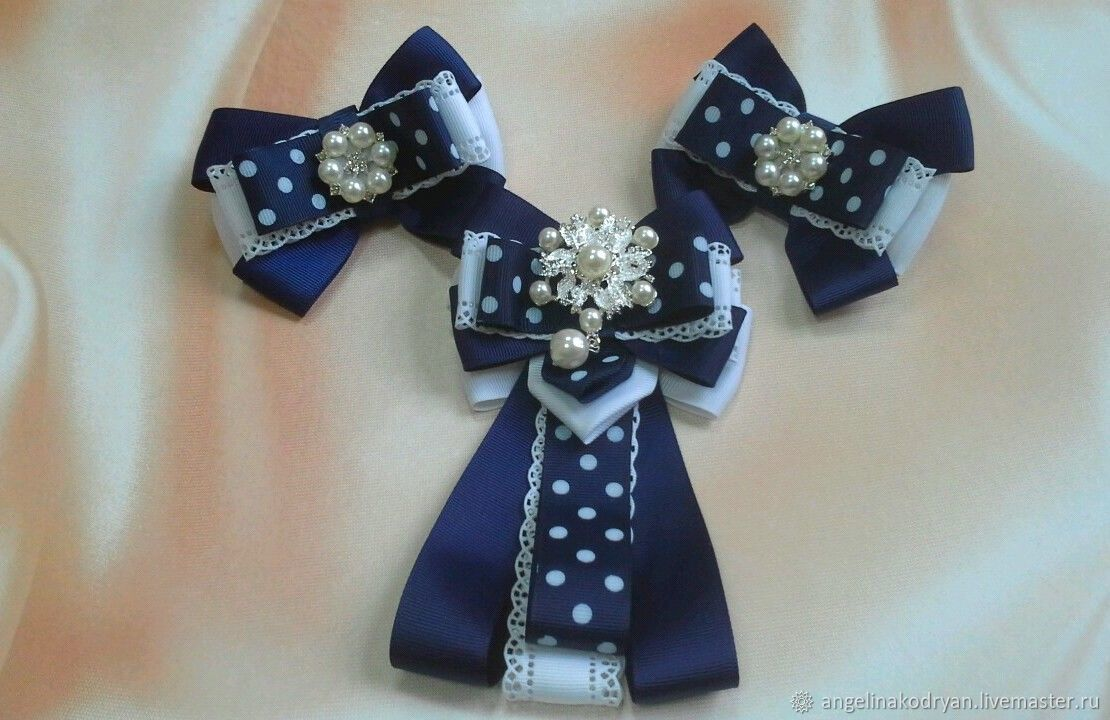 School-bow-brooch and bow, white-blue in a large pea, Knot hair bow, Belgorod,  Фото №1
