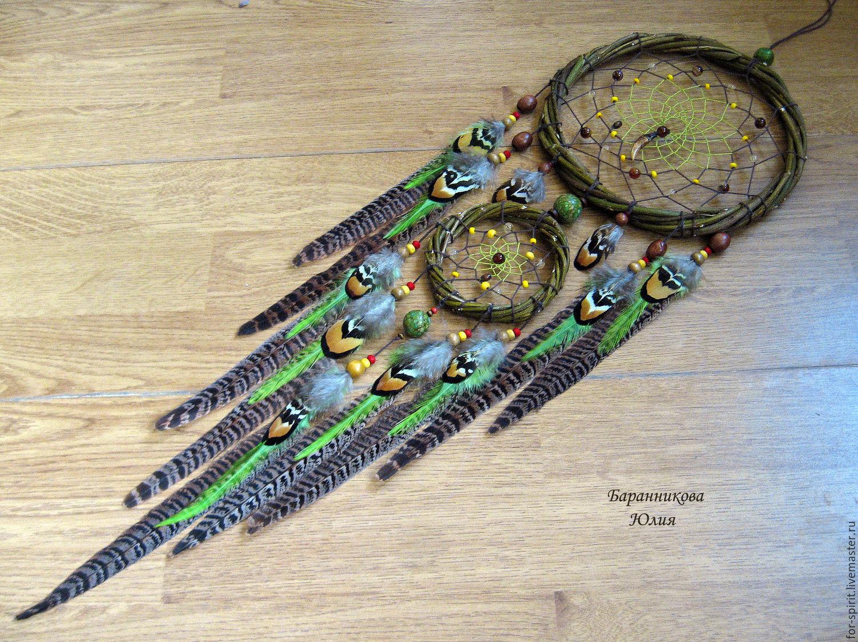 """Купить Ловец снов """"Лесной"""" - зеленый, ловец снов, dreamcatcher, индейский стиль, индейский оберег"""