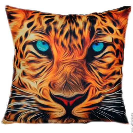 Текстиль, ковры ручной работы. Ярмарка Мастеров - ручная работа. Купить Декоративная подушка с тигром. Handmade. Рыжий, леопрад