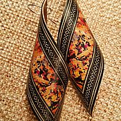 Украшения handmade. Livemaster - original item Wooden Earrings Petals with unique wooden mosaic inlay. Handmade.