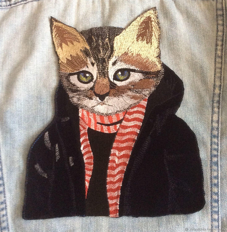 Вышитая аппликация Кот в пиджаке, Аппликации, Москва,  Фото №1