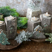Сувениры и подарки handmade. Livemaster - original item Set of rustic candlesticks. candle decoupage. Handmade.