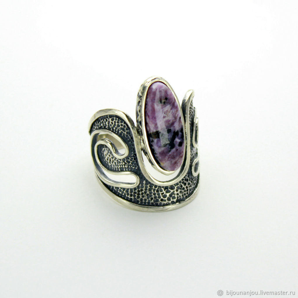 Ring 'Crown' of 925 silver with charoite, Rings, Yerevan,  Фото №1