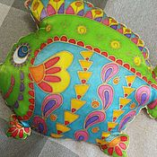 Для дома и интерьера handmade. Livemaster - original item Gift to Fish, Pillow - toy Fish, 45h35 cm, hand painted. Handmade.