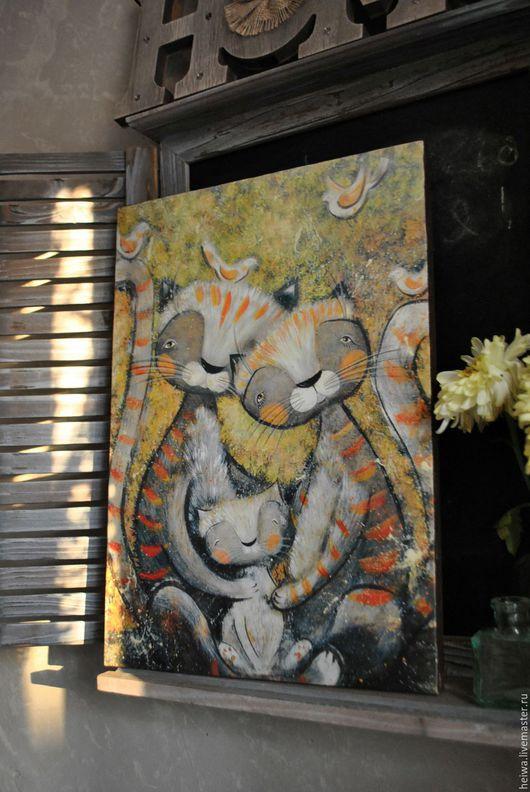 Животные ручной работы. Ярмарка Мастеров - ручная работа. Купить Семья (репродукция). Handmade. Рыжий, птички