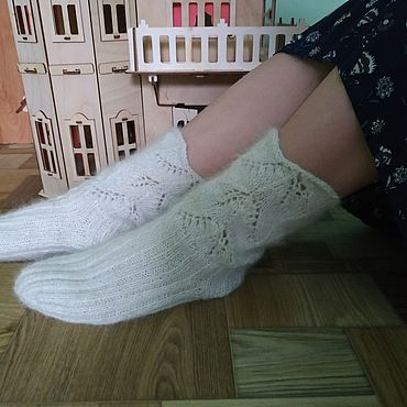 Аксессуары handmade. Livemaster - original item Down socks made of dog hair. Handmade.