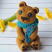 Куклы и игрушки ручной работы. Ярмарка Мастеров - ручная работа Медвежонок с голубыми глазами и шарфом. Handmade.