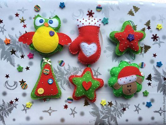 Новый год 2017 ручной работы. Ярмарка Мастеров - ручная работа. Купить Набор елочных игрушек из фетра. Handmade. Елочные игрушки