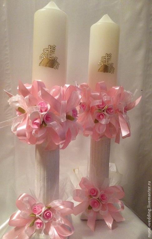 Свадебные аксессуары ручной работы. Ярмарка Мастеров - ручная работа. Купить Свечи для крещения. Handmade. Розовый, Праздник, Свечи, крещение
