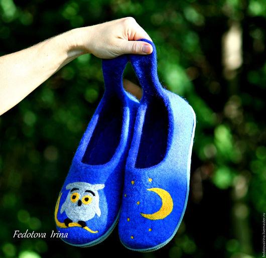 """Обувь ручной работы. Ярмарка Мастеров - ручная работа. Купить Тапочки валяные """"Ночь"""".. Handmade. Тёмно-синий, тапочки из шерсти"""