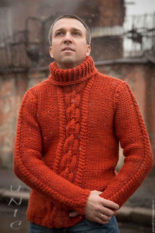 Мужской свитер, тёплый свитер, рыжий, кирпичный, джемпер мужской, купить мужской свитер, Свитер вязаный, вязаный мужской джемпер, крупная вязка, морская цепь, брутальный, стильный свитер, зимняя мода