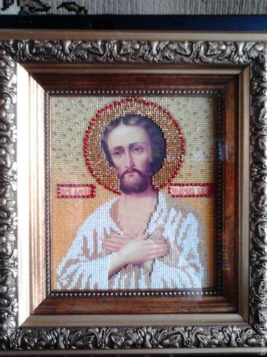 Иконы ручной работы. Ярмарка Мастеров - ручная работа. Купить Икона вышитая ювелирным бисером  Св. Алексий Человек Божий. Handmade.