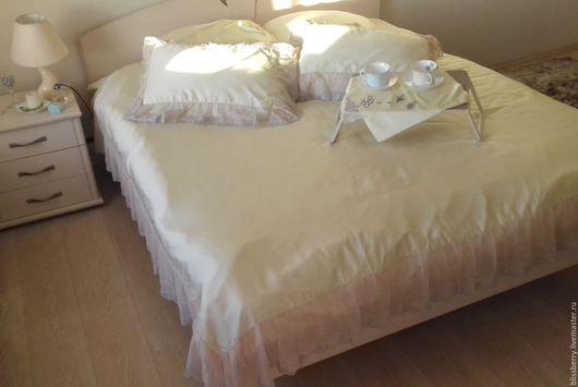 Текстиль, ковры ручной работы. Ярмарка Мастеров - ручная работа. Купить Постельное белье из 100% тенсела с итальянским кружевом. Handmade.