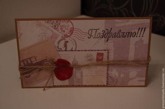 """Открытки на все случаи жизни ручной работы. Ярмарка Мастеров - ручная работа. Купить Поздравительная открытка """"Письмо-конверт"""". Handmade. Коричневый"""