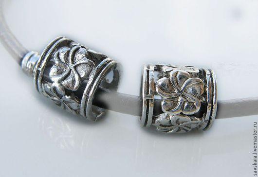 Бусины 10 x 9 mm, цветочныe, античное серебро
