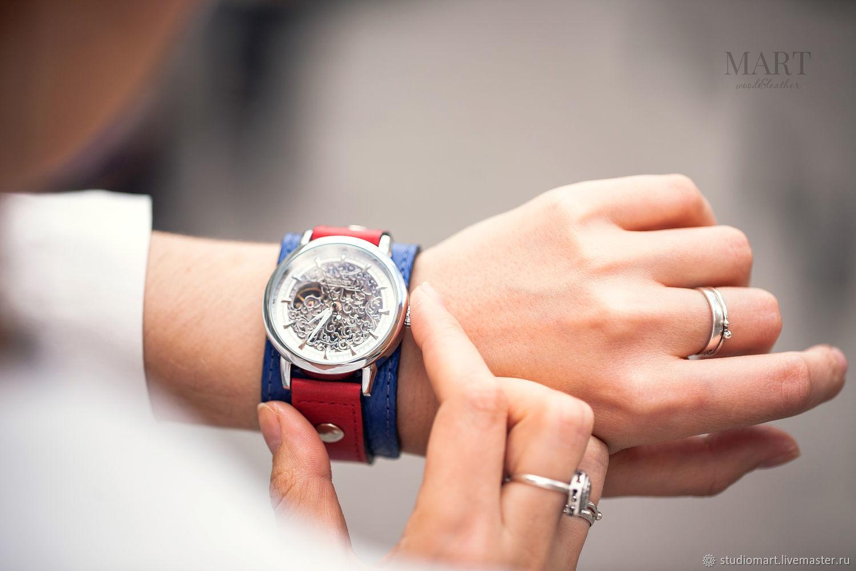 Wrist mechanical watch Britain blue red, Watches, St. Petersburg,  Фото №1