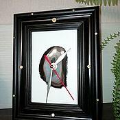 Часы классические ручной работы. Ярмарка Мастеров - ручная работа Часы в рамке с агатом. Handmade.
