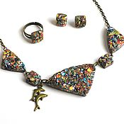 Украшения handmade. Livemaster - original item Asymmetric necklace, earrings and ring set
