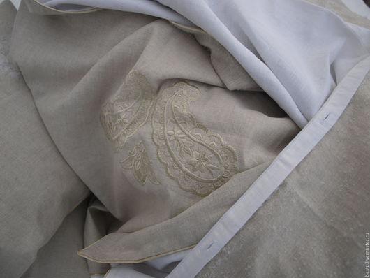 Текстиль, ковры ручной работы. Ярмарка Мастеров - ручная работа. Купить Постельное белье лен с вышивкой и кантом. Handmade.